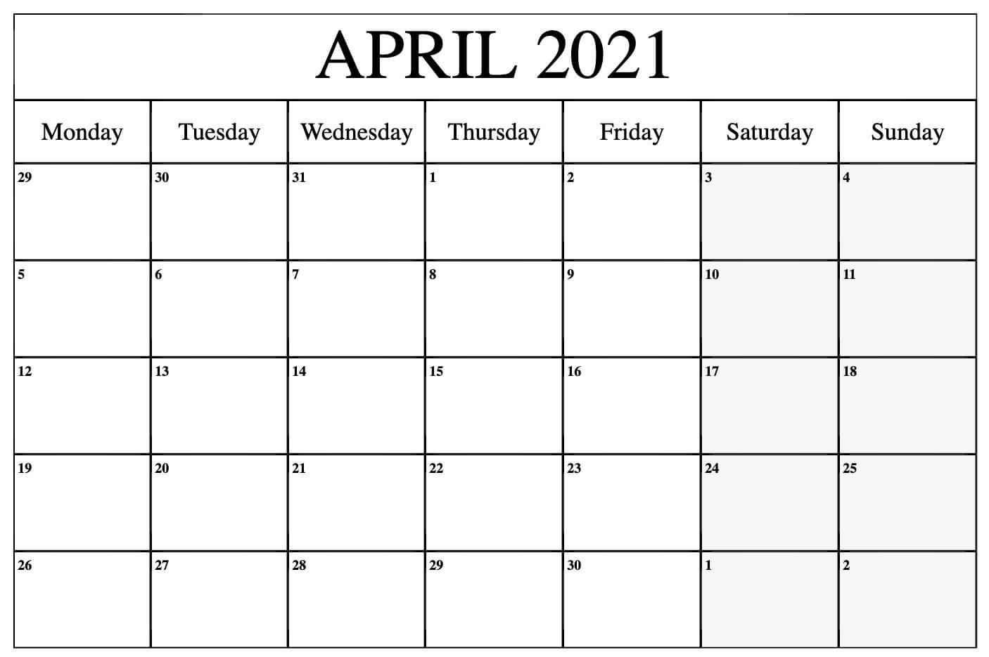 April 2021 Blank Calendar Template