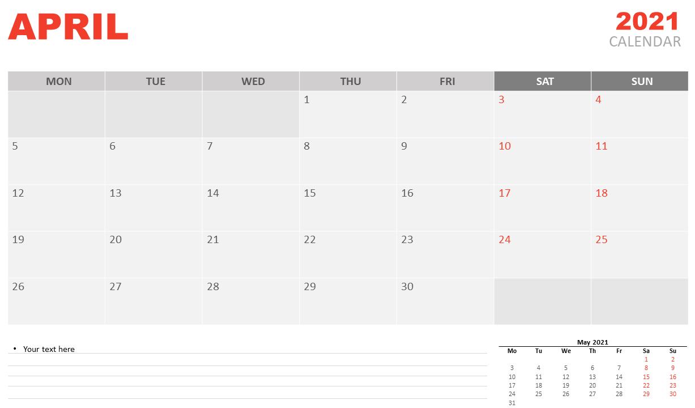 April 2021 Desk Calendar to Print