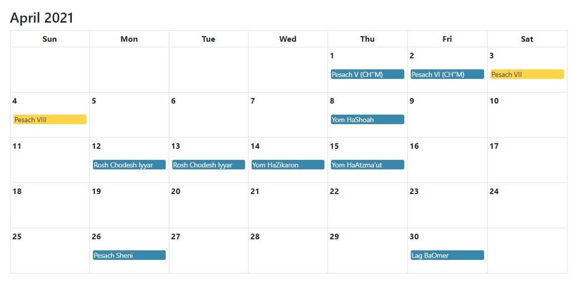 April 2021 Jewish Holidays Calendar