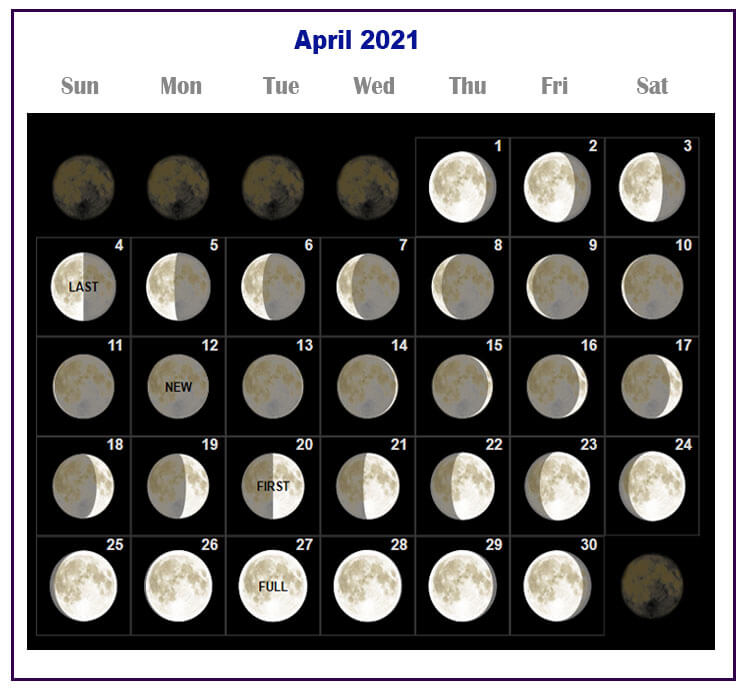 April 2021 Moon Phases Calendar