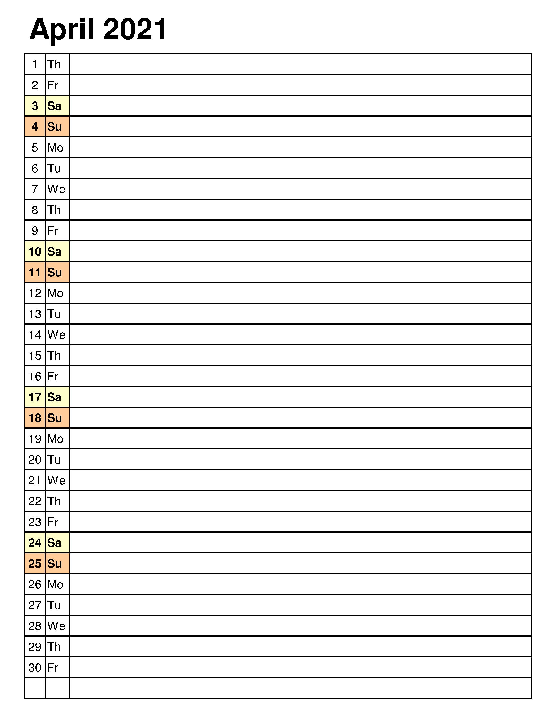 April 2021 Vertical Calendar in Word