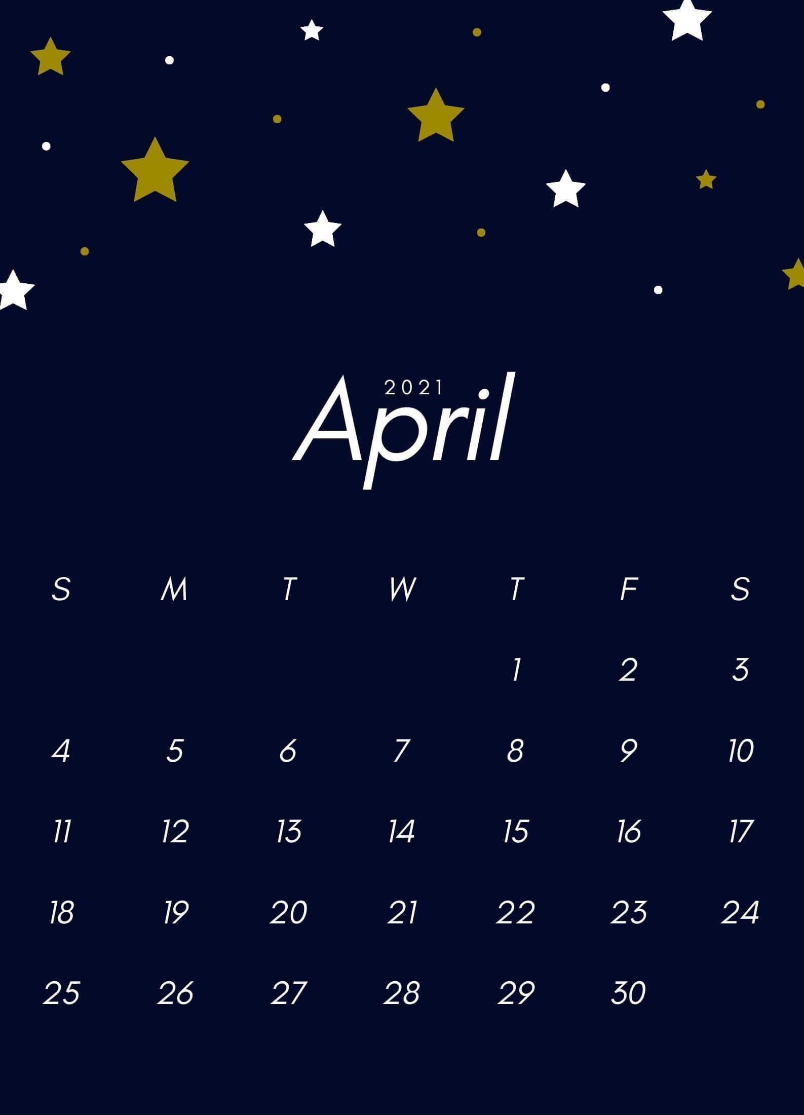 April 2021 iPhone Calendar Wallpaper