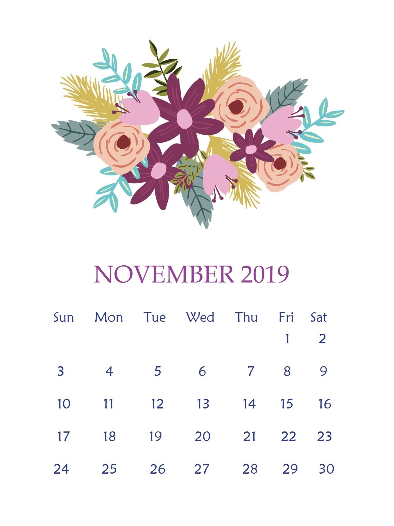 Beautiful November 2019 Wall Calendar