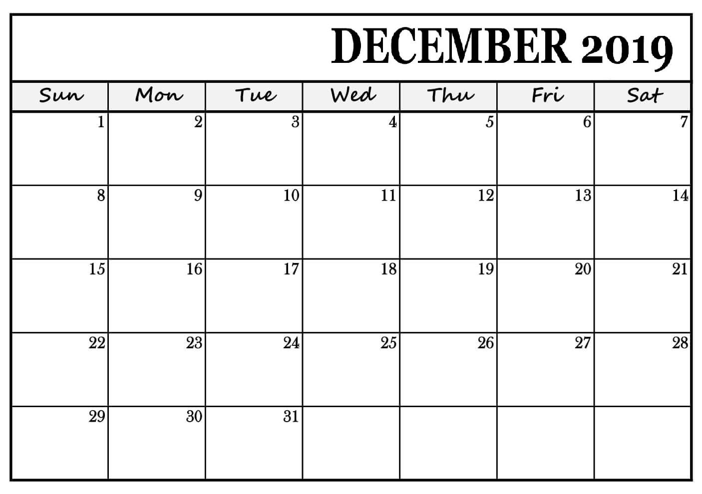 Blank Calendar December 2019 Printable
