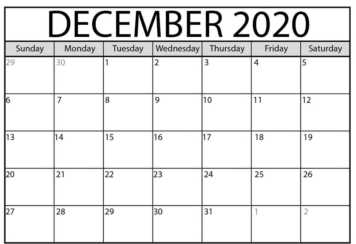 Blank Calendar December 2020