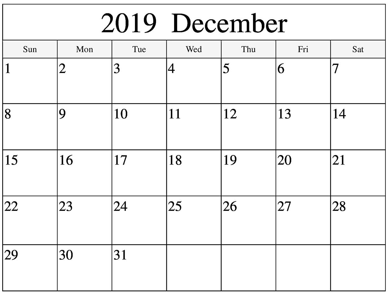 Blank Calendar For December 2019 Template