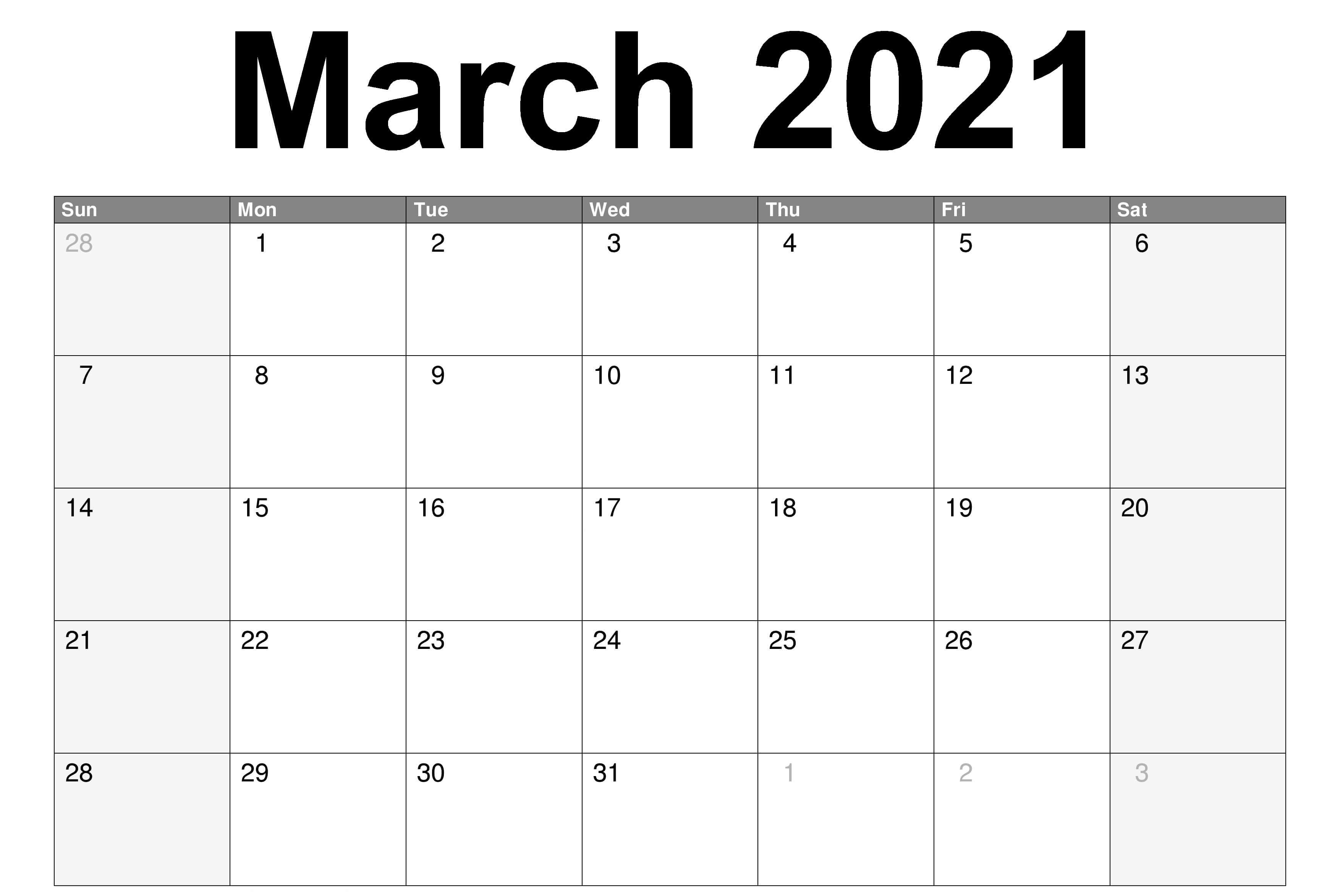 Monthly March 2021 Calendar - Blank Printable Template