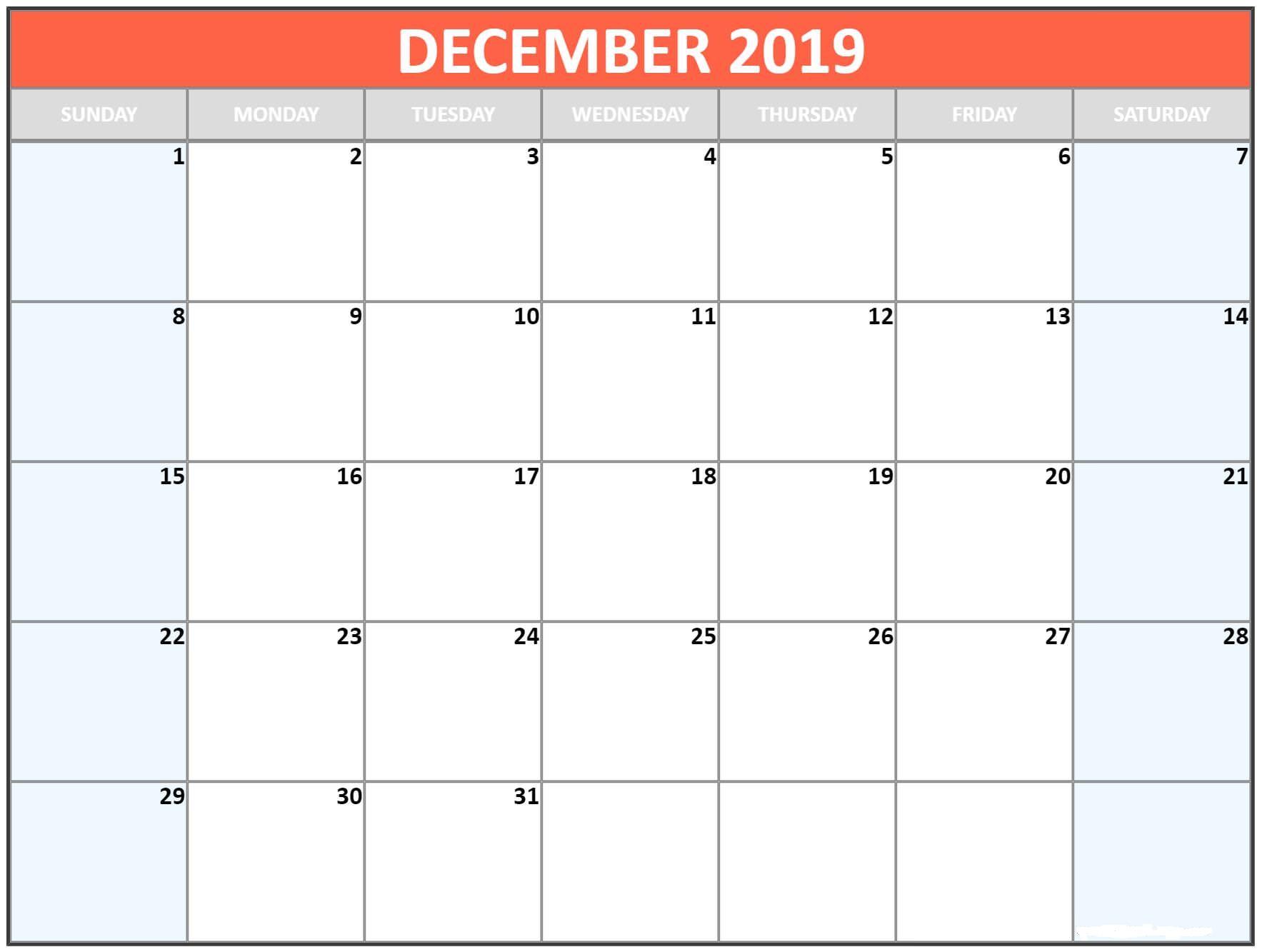 Blank Calendar Template December 2019