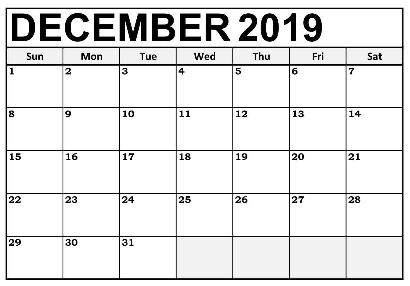 Blank December 2019 Calendar