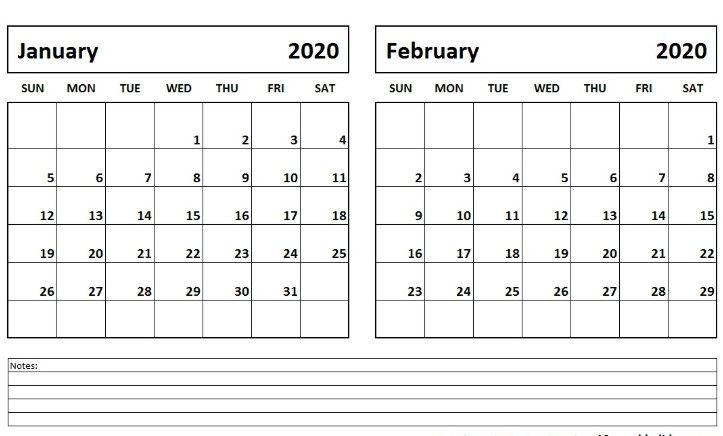 Blank January February 2020 Calendar Template
