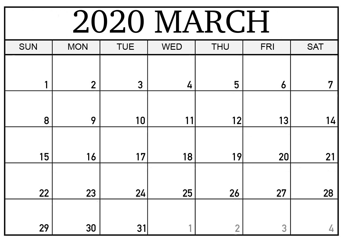 March Printable Calendar 2020.Monthly March 2020 Calendar Blank Printable Template