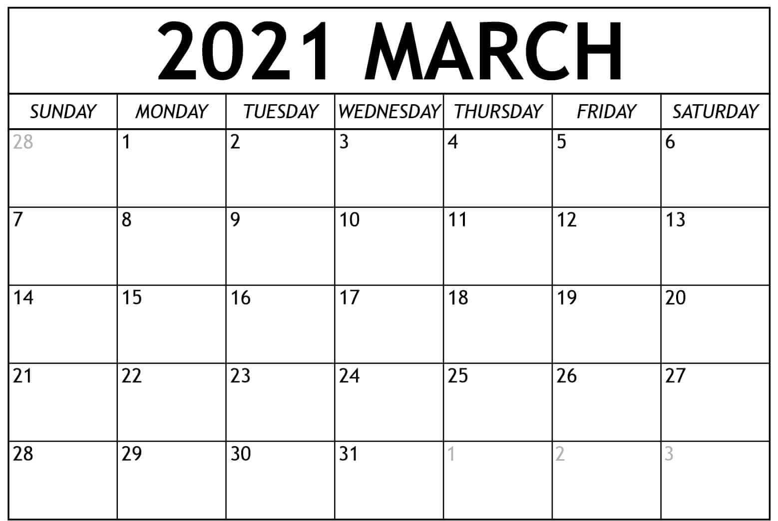 Blank March 2021 Printable Calendar