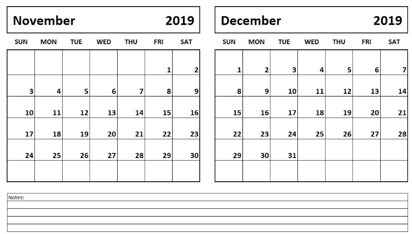 Blank November December 2019 Calendar