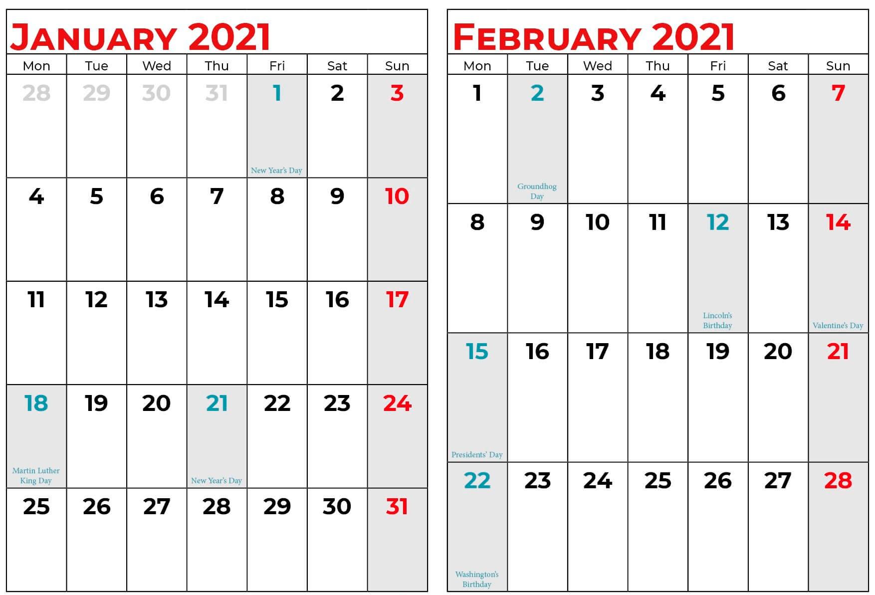 Calendar For January and February 2021