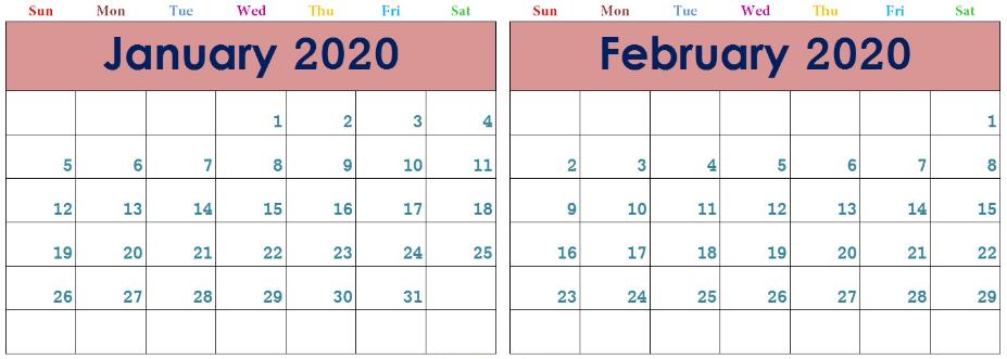 Calendar January February 2020
