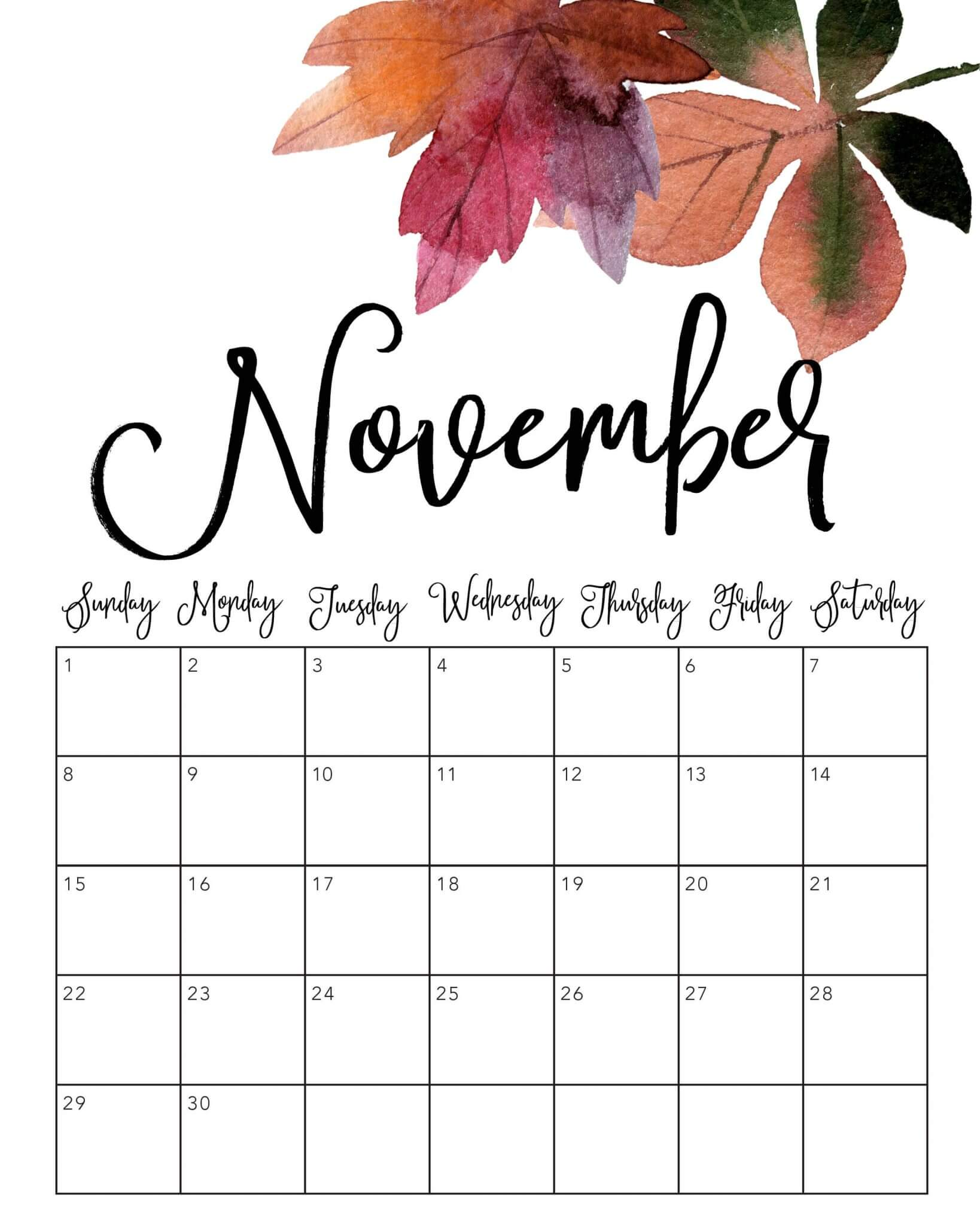 Floral November 2020 Calendar Wallpapers for Desktop and ...