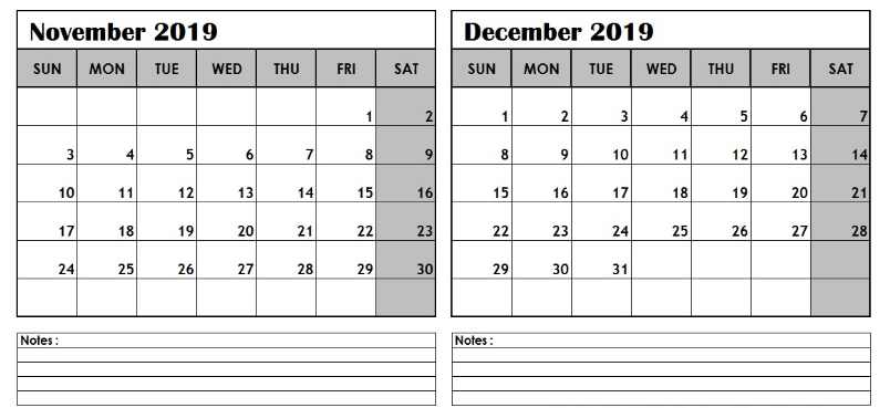 Calendar November December 2019