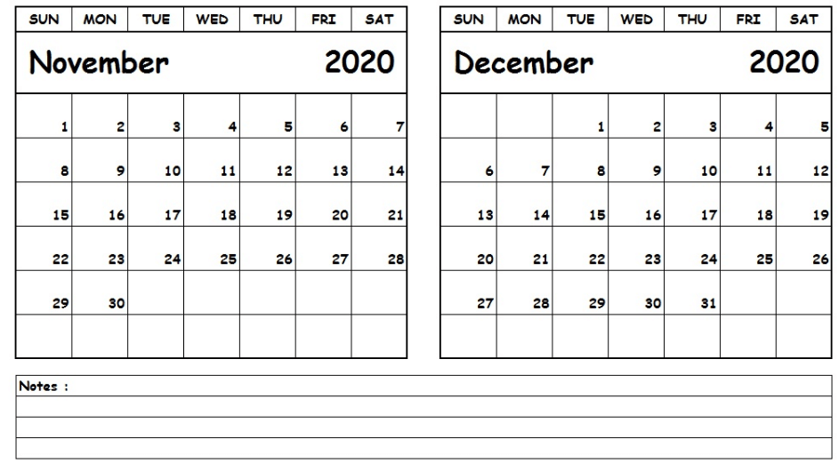 Calendar November December 2020 Calendar