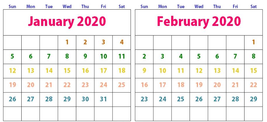 Cute January February 2020 Calendar