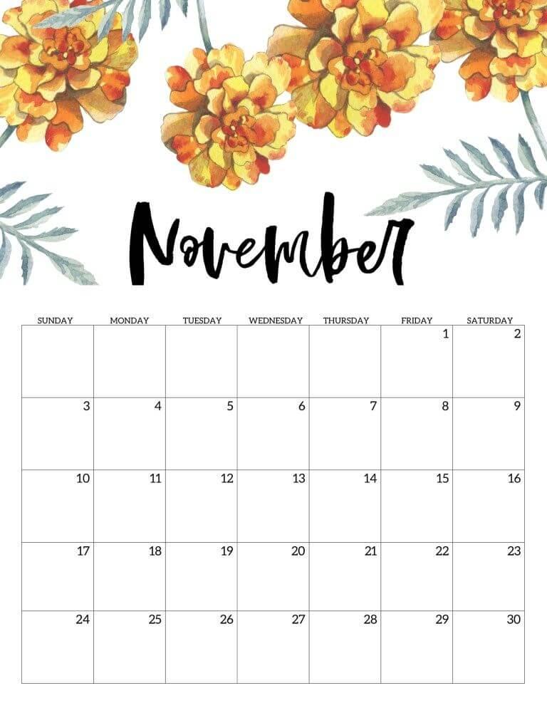 Cute November 2020 Floral Calendar Template