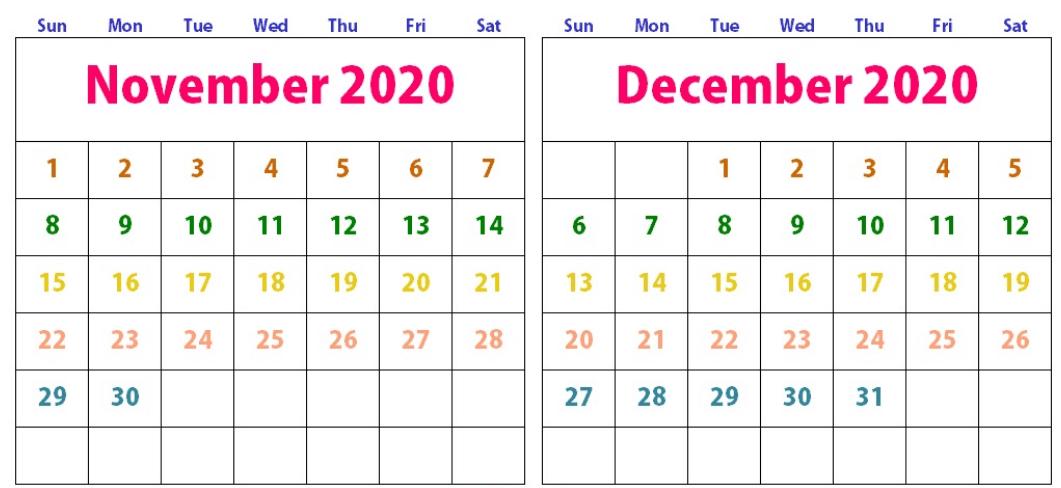 Cute November December 2020 Calendar