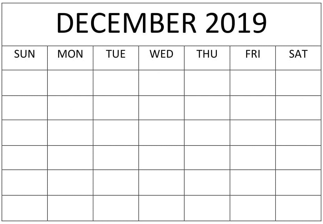December 2019 Blank Calendar Printable Sheet