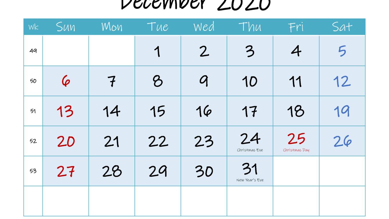 December 2020 Calendar Blank
