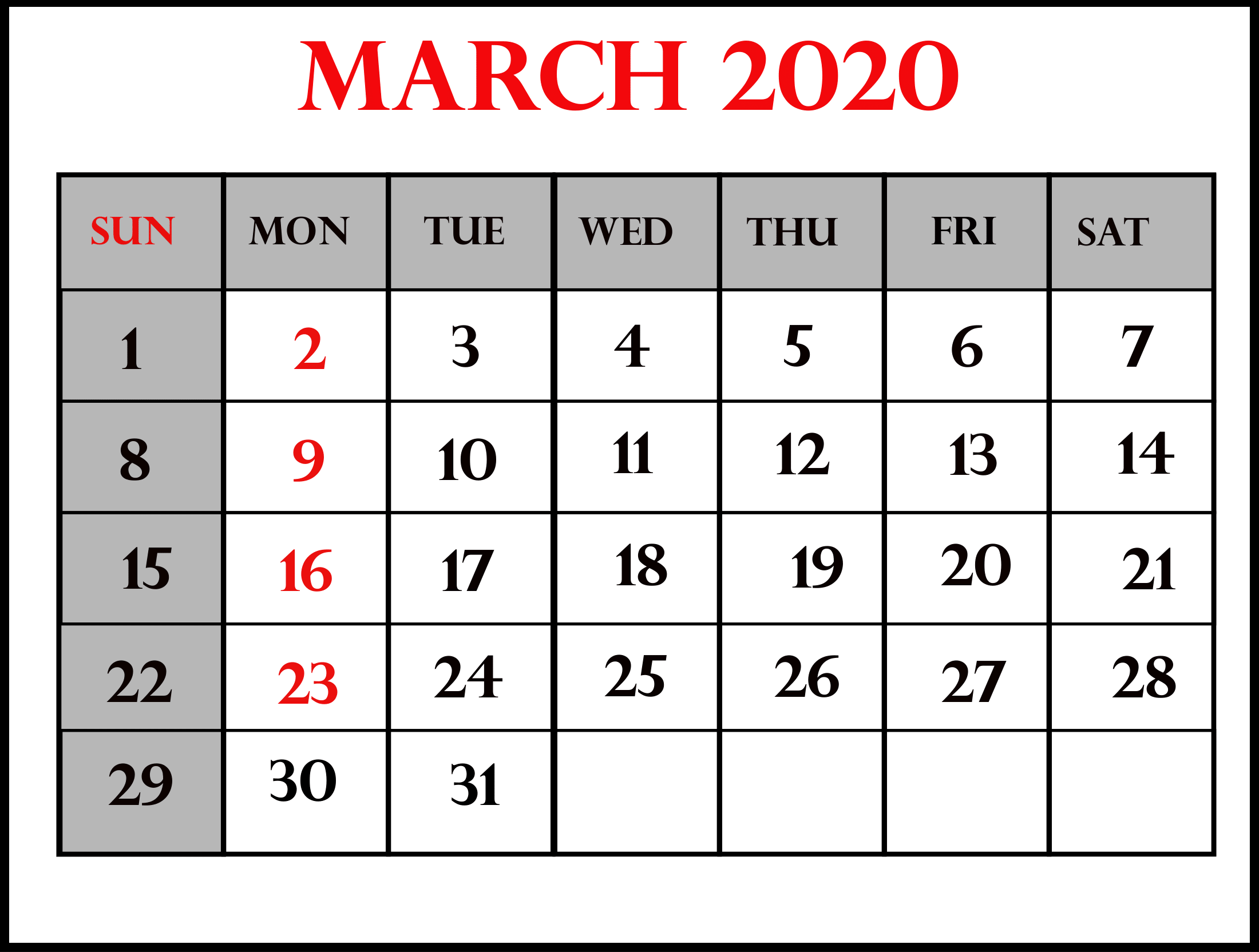 Download March 2020 Printable Calendar