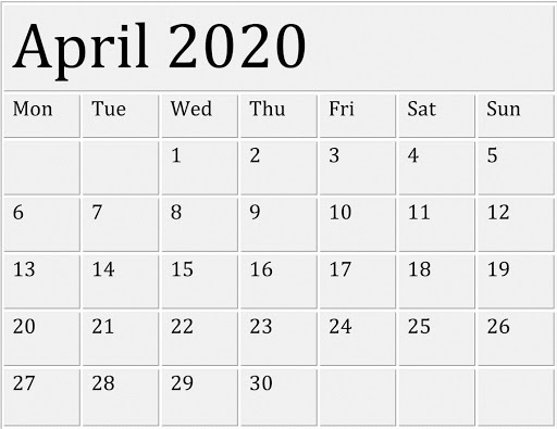 Edit April 2020 Calendar Word
