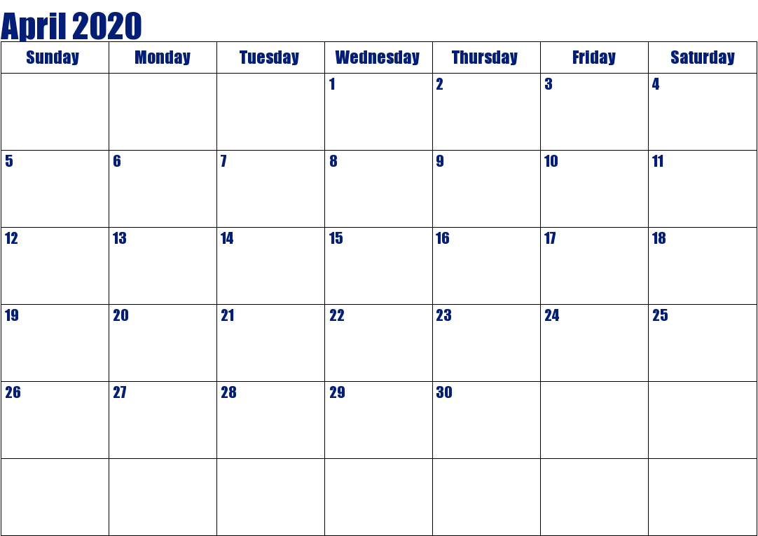 Editable April 2020 Calendar Blank Template