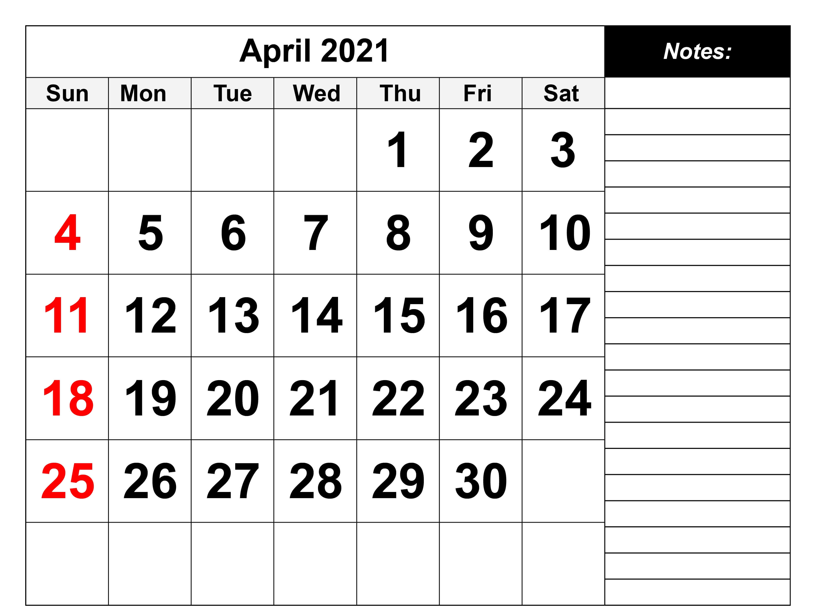 Editable April 2021 Calendar with Notes