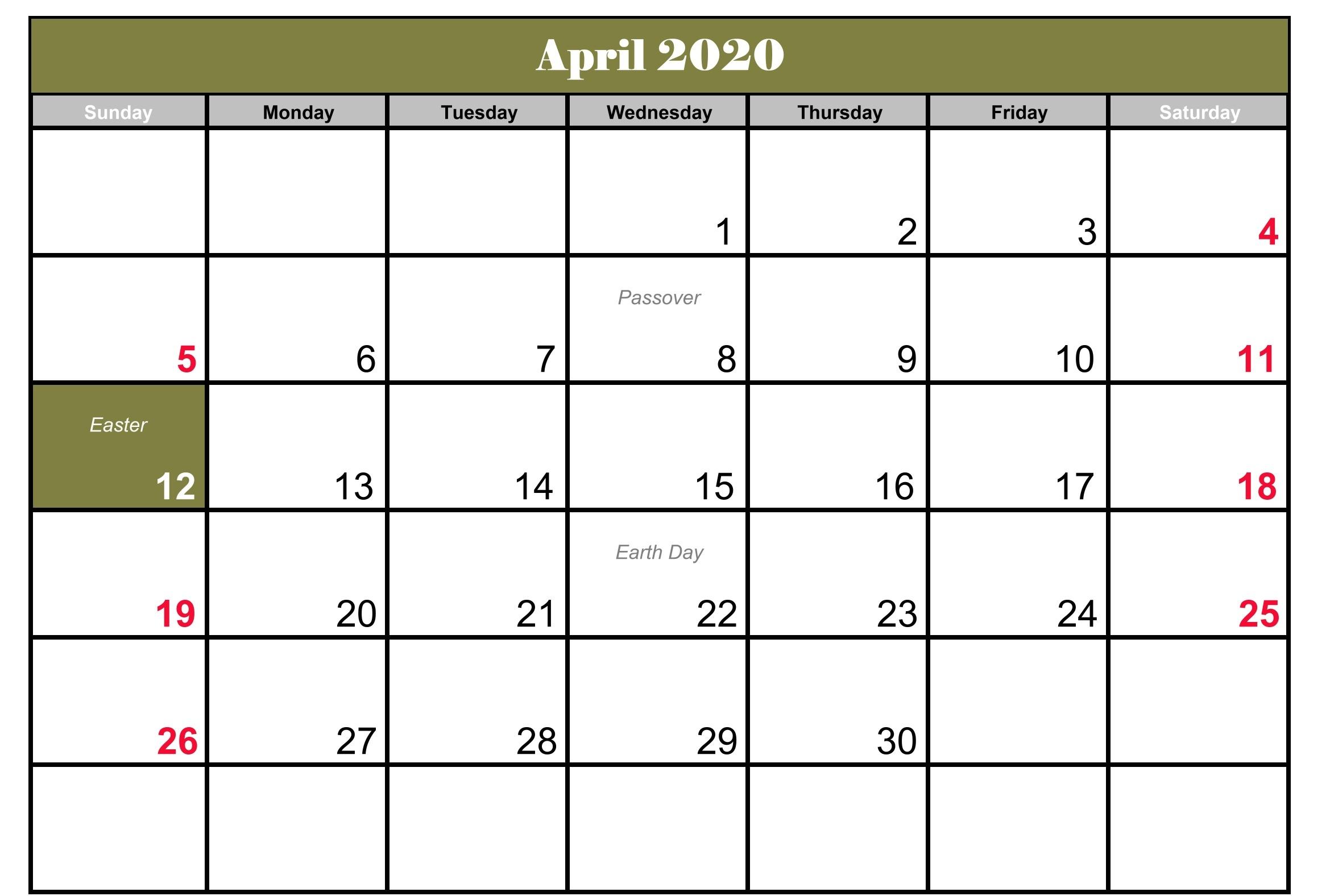 Editable Calendar April 2020