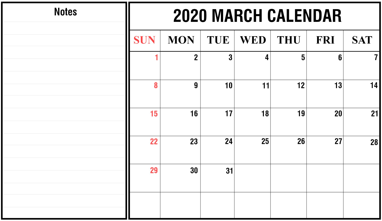 Editable March 2020 Printable Calendar