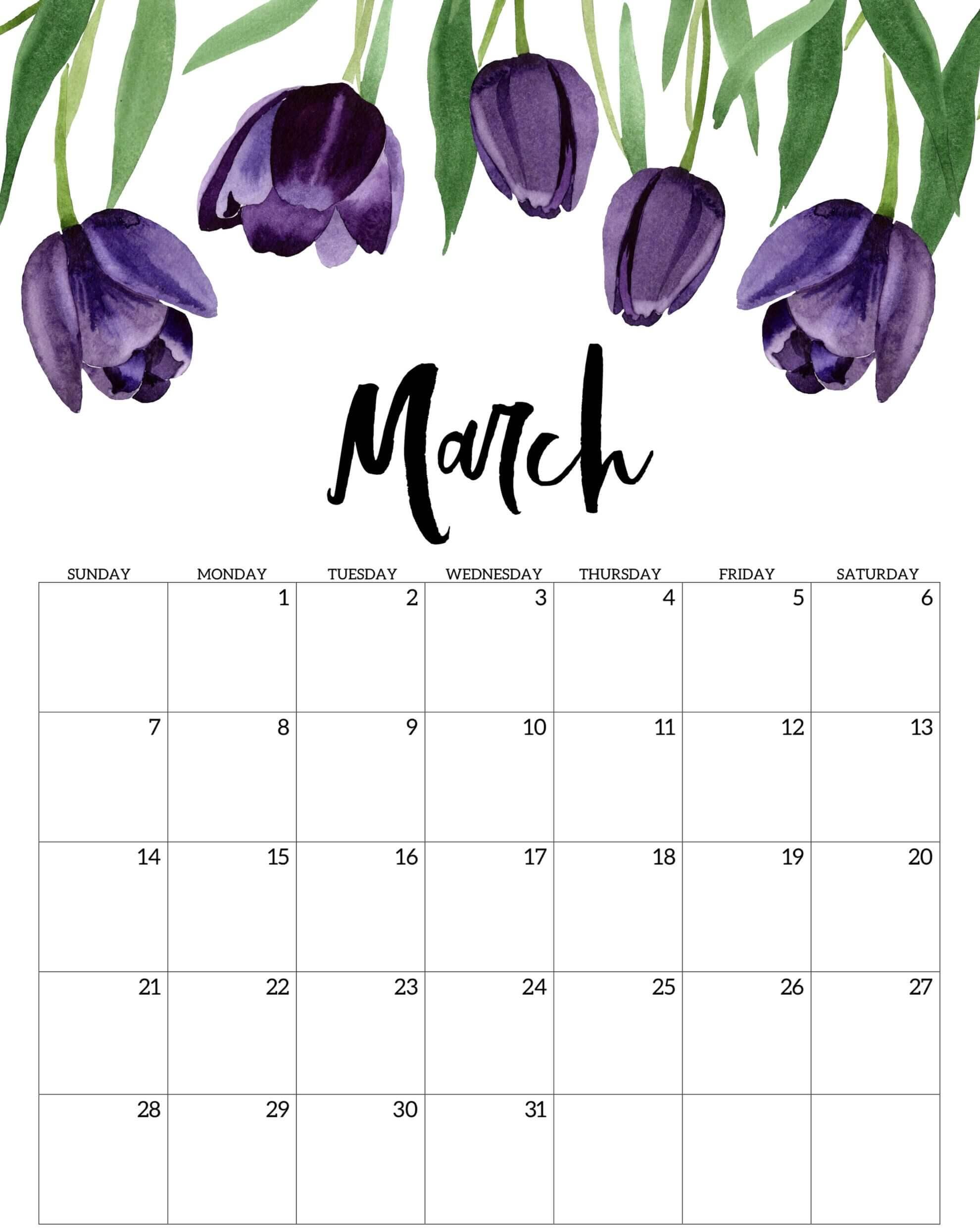 Floral March 2021 Calendar