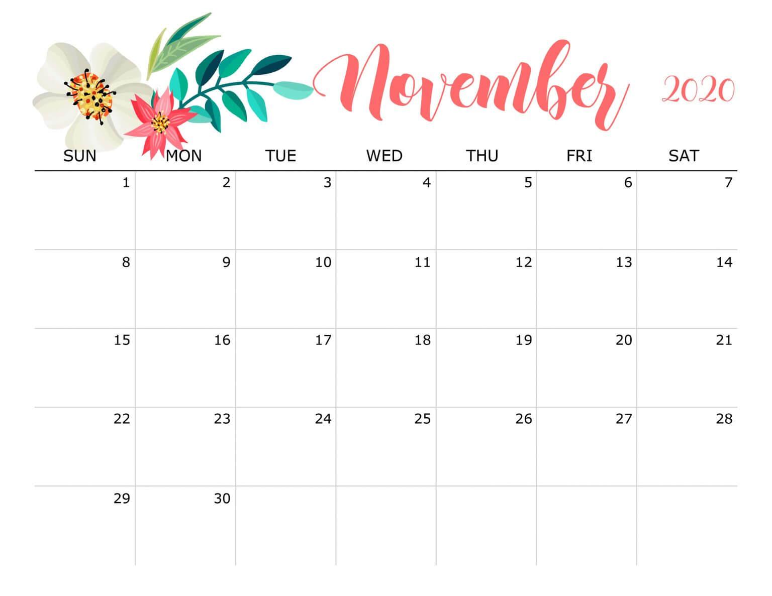 Floral November 2020 Calendar Cute