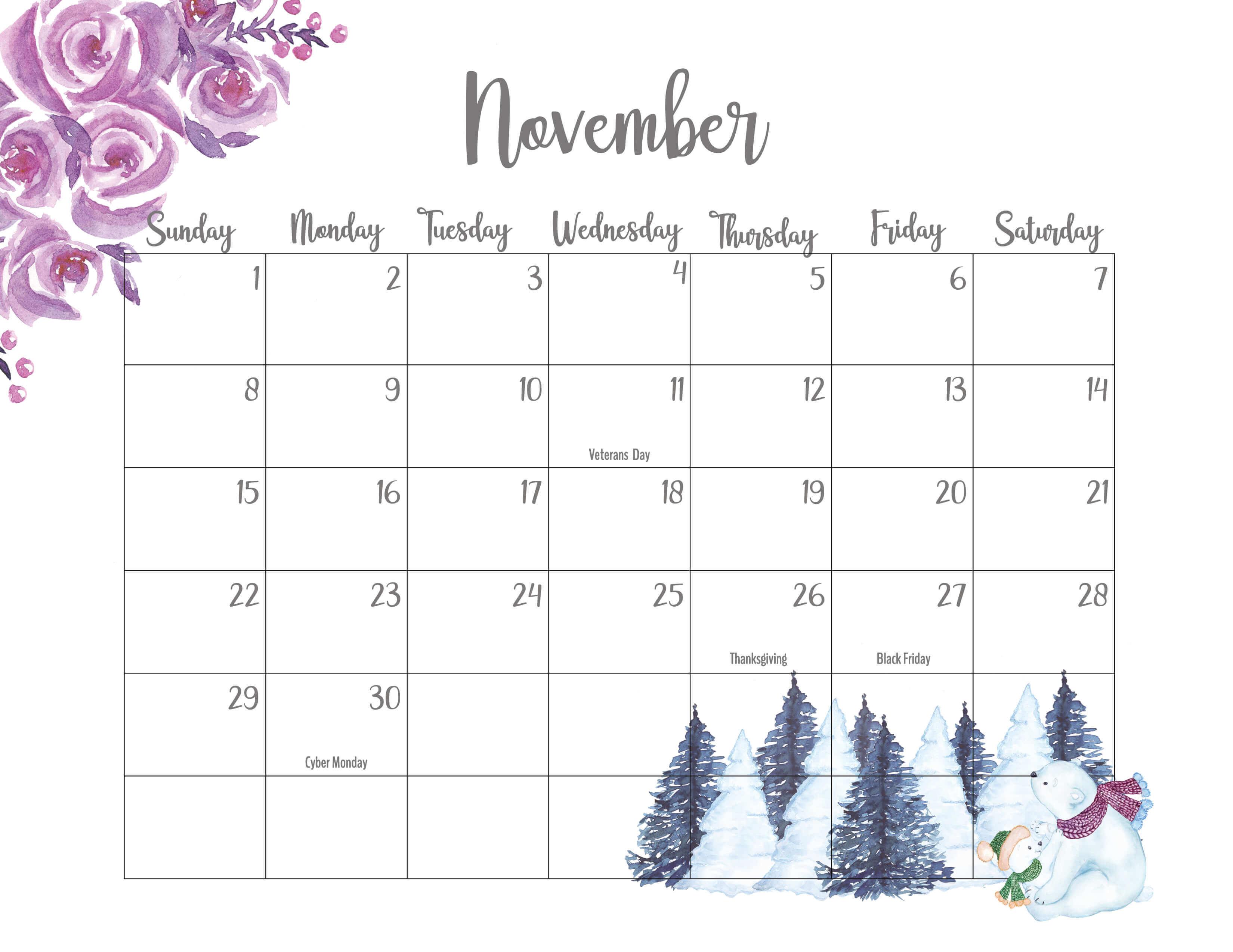 Floral November 2020 Calendar Template