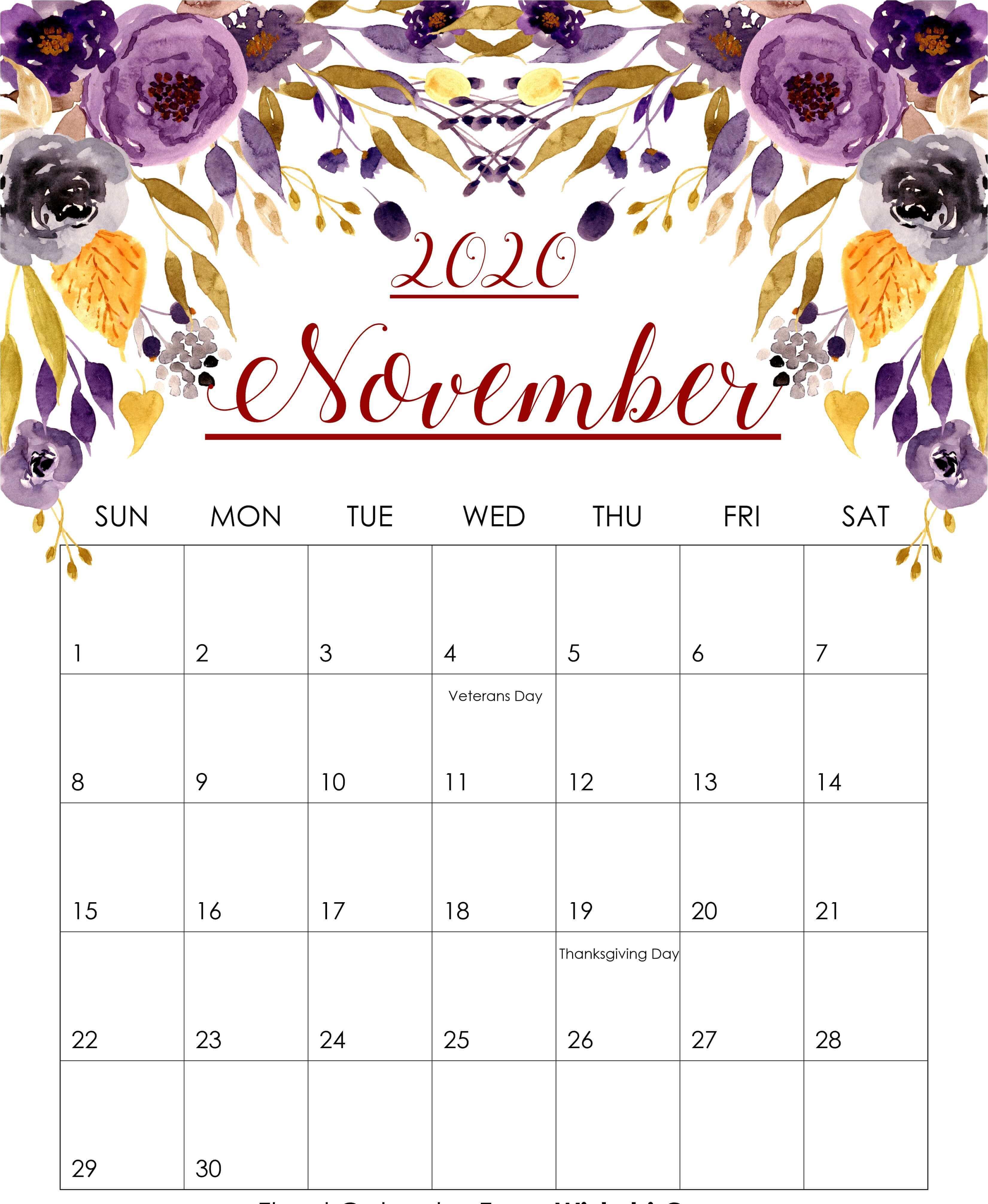 Floral November 2020 Wall Calendar