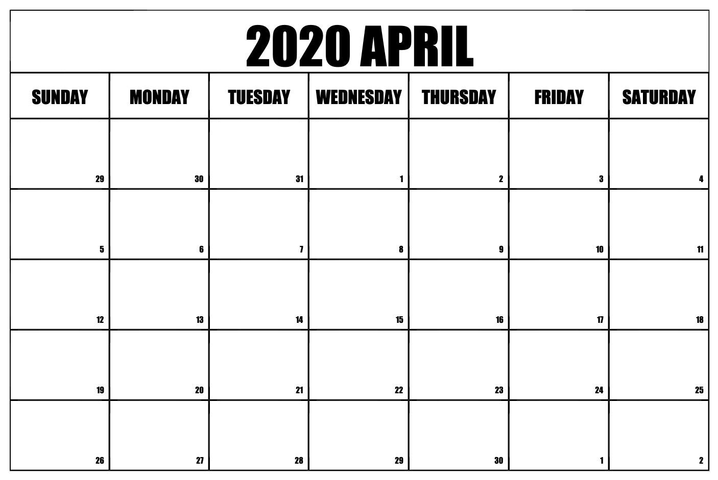 Free Calendar April 2020