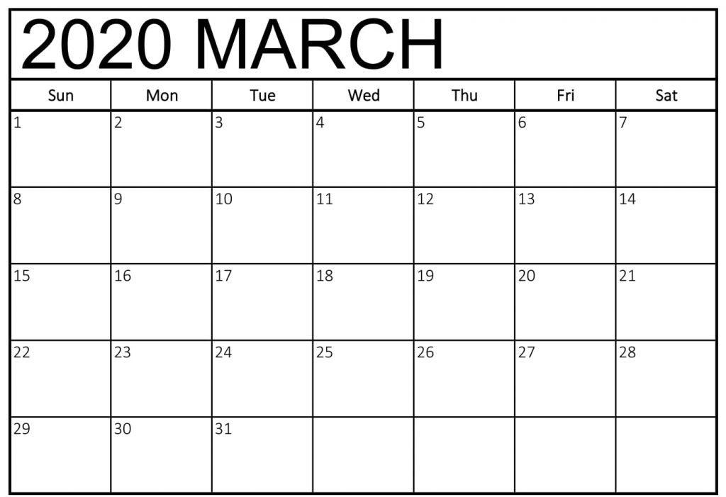 Free March 2020 Calendar Word