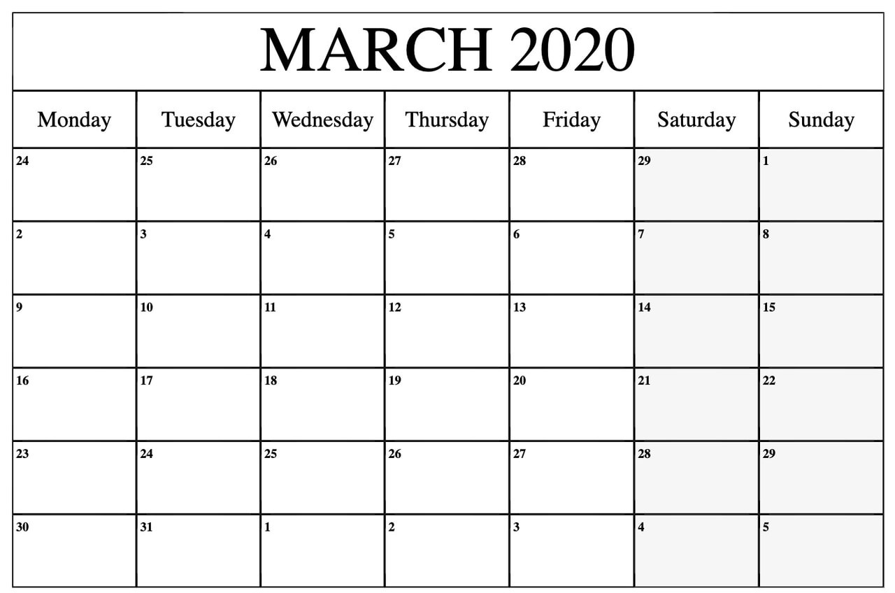 Free March 2020 Monthly PDF Calendar