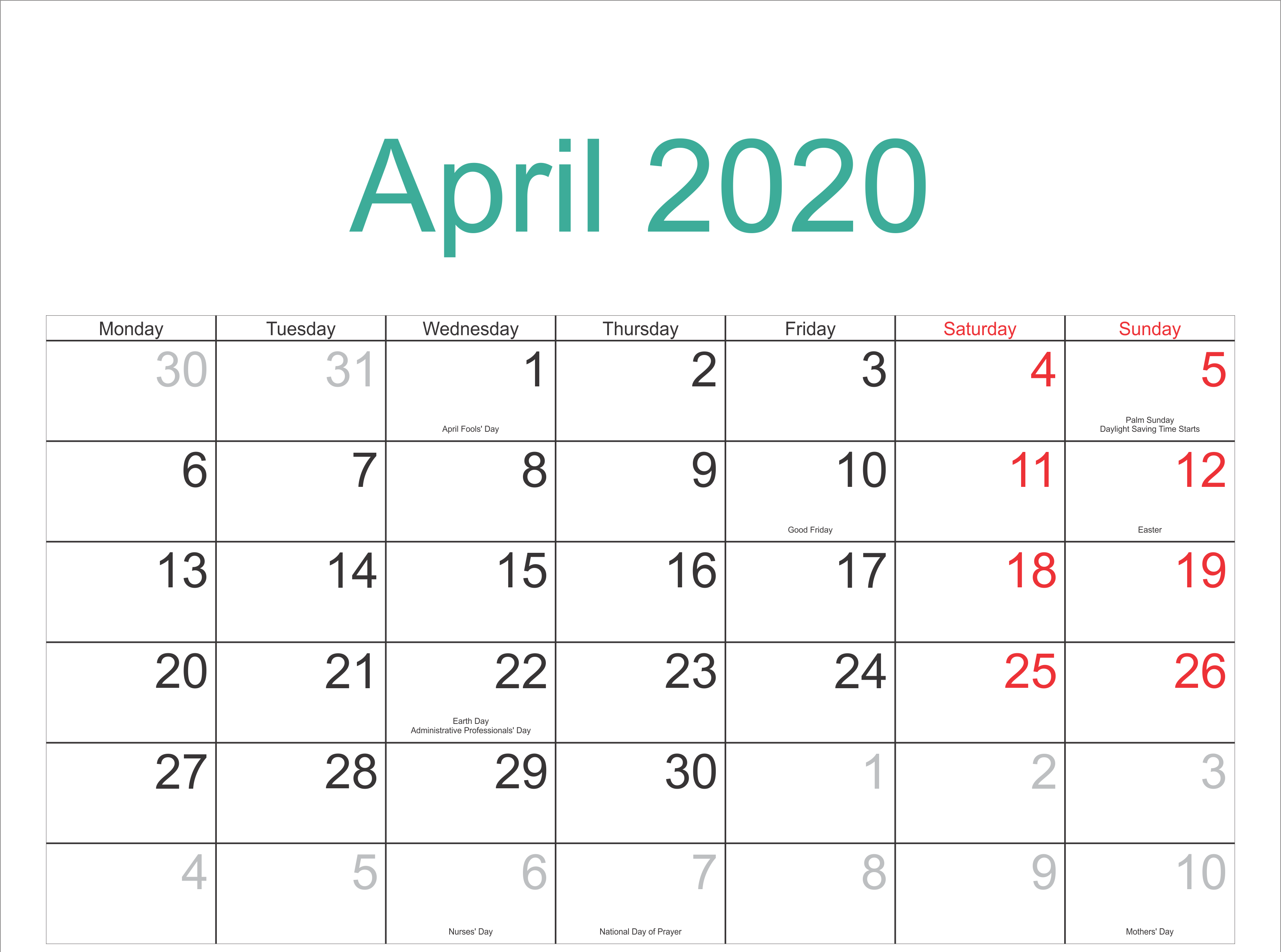 Holidays Calendar April 2020