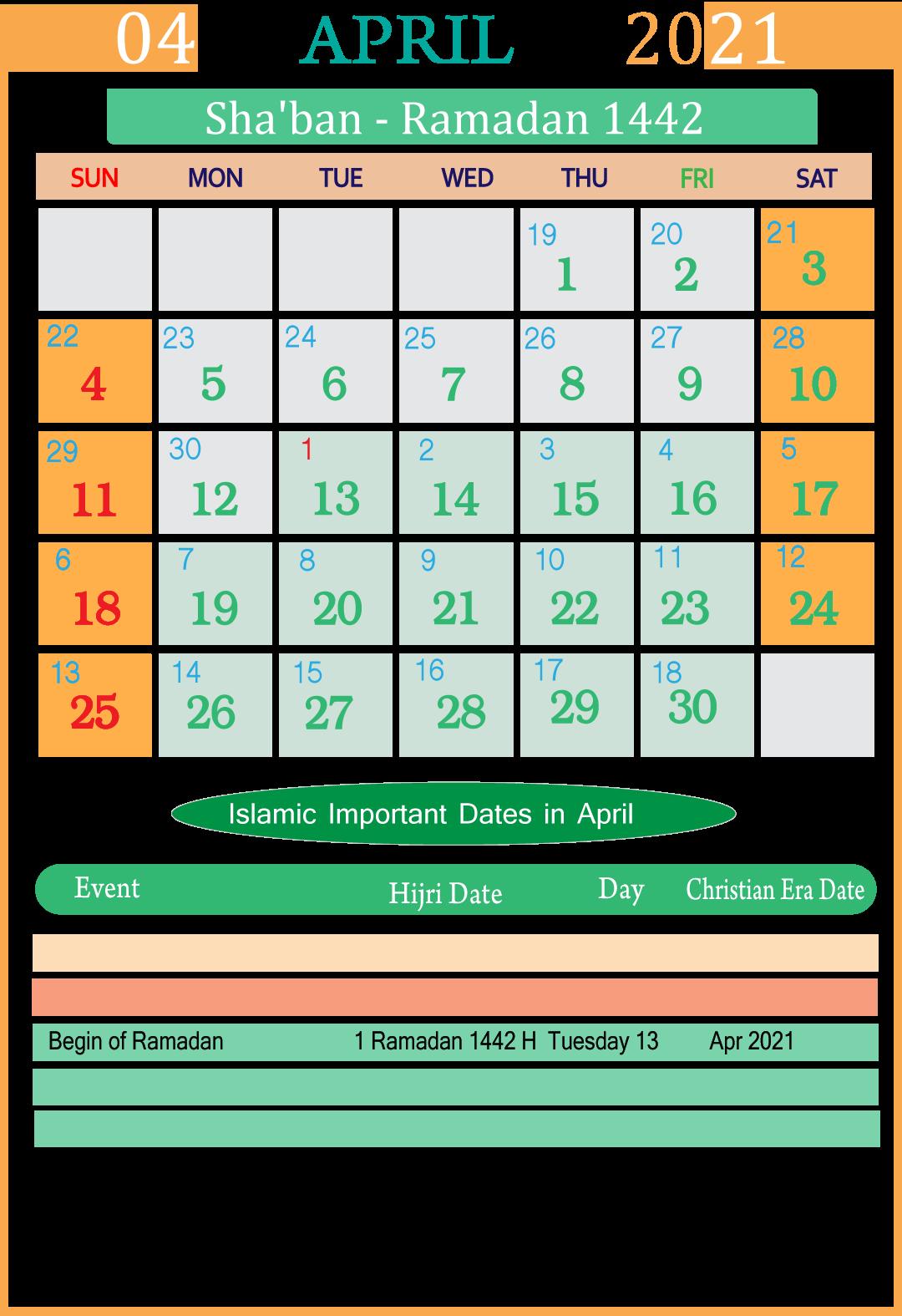 Islamic Hijri APRIL 2021 Calendar