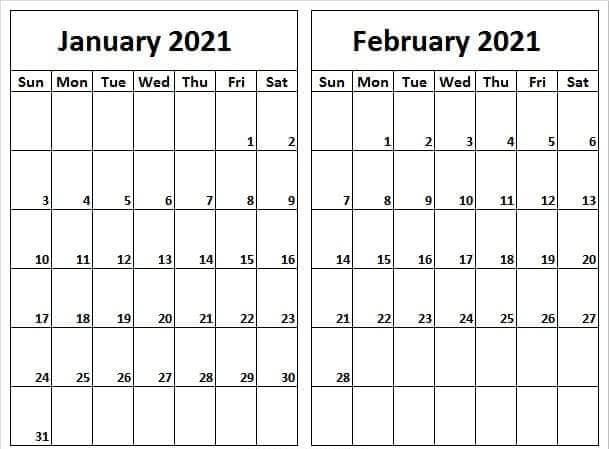 January February 2021 Calendar Template