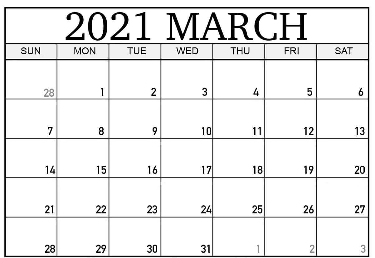 March 2021 Calendar