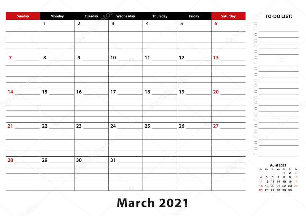 March 2021 Monthly Desk Pad Calendar