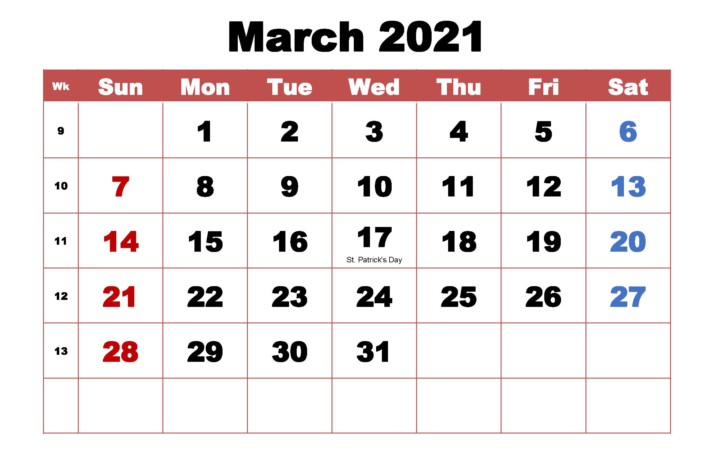 March 2021 Printable Calendar Template