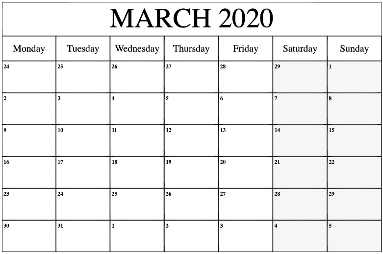 Monthly Calendar Template March 2020