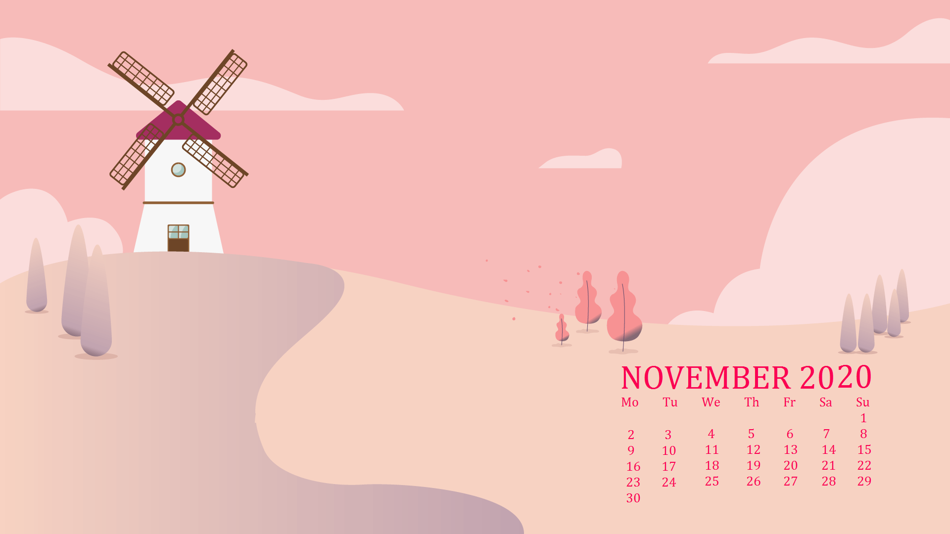 November 2020 Desktop Calendar Wallpaper