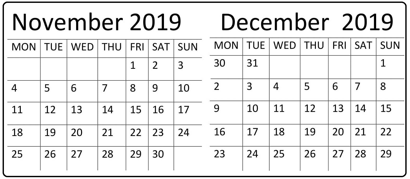 November December 2019 Calendar Printable