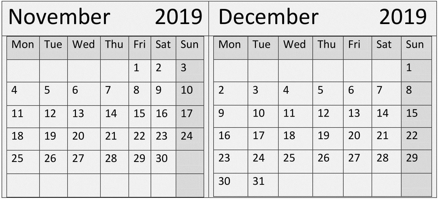 November December 2019 Calendar Template